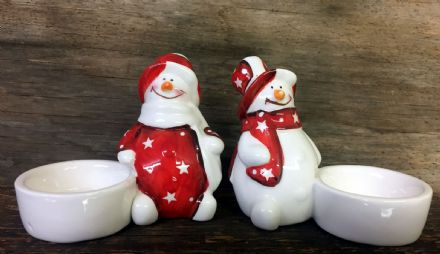 Snowman Ceramic Christmas Tea Light Holder - Set of 2
